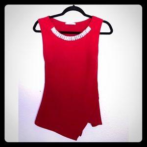 Red Top w/ Jewel neckline
